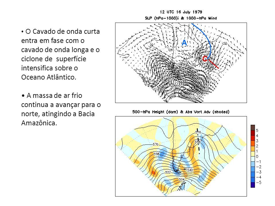 O Cavado de onda curta entra em fase com o cavado de onda longa e o ciclone de superfície intensifica sobre o Oceano Atlântico.