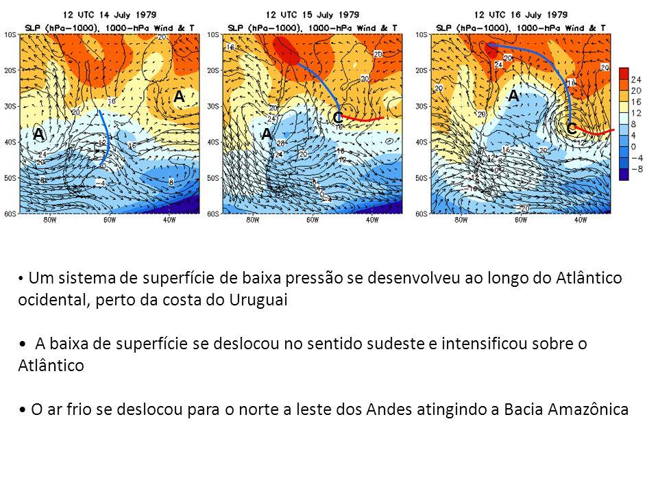 A A. C. C. A. A. Um sistema de superfície de baixa pressão se desenvolveu ao longo do Atlântico ocidental, perto da costa do Uruguai.
