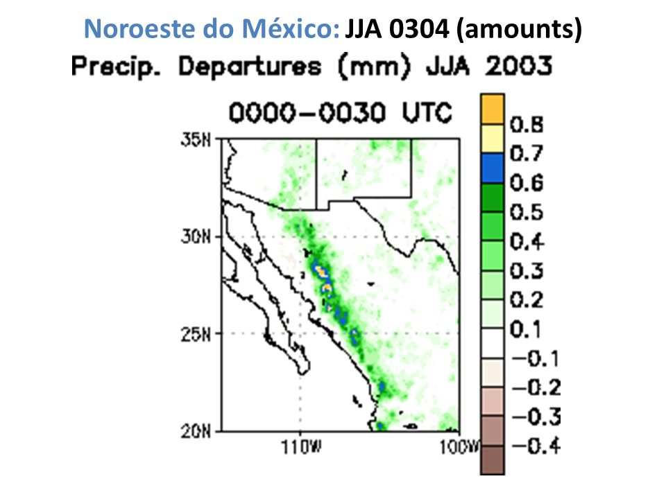 Noroeste do México: JJA 0304 (amounts)