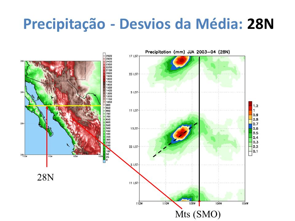 Precipitação - Desvios da Média: 28N