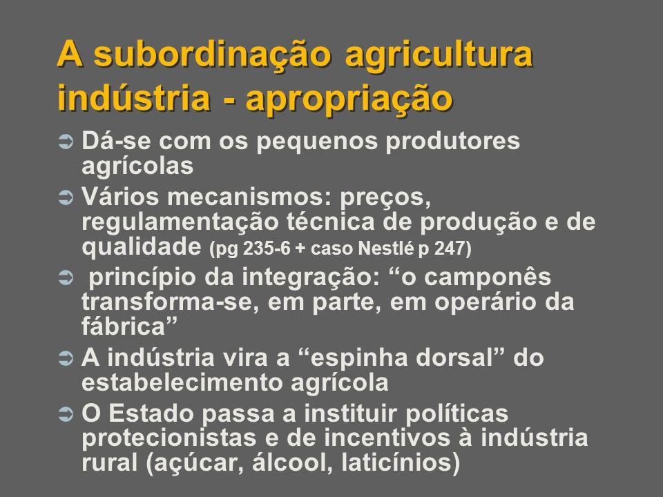 A subordinação agricultura indústria - apropriação