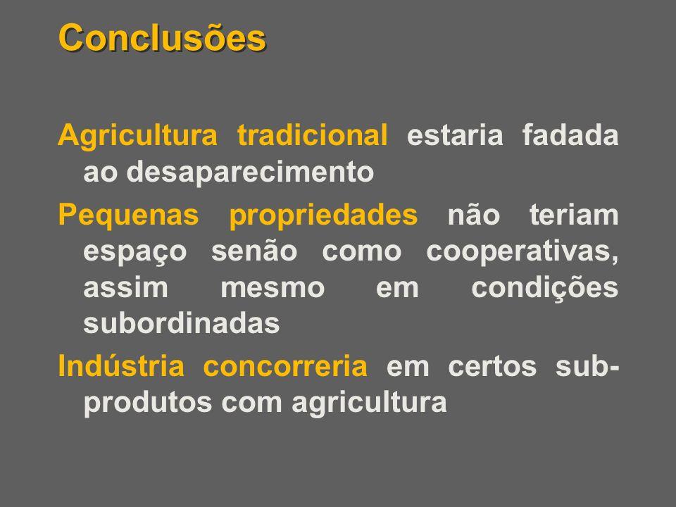 Conclusões Agricultura tradicional estaria fadada ao desaparecimento