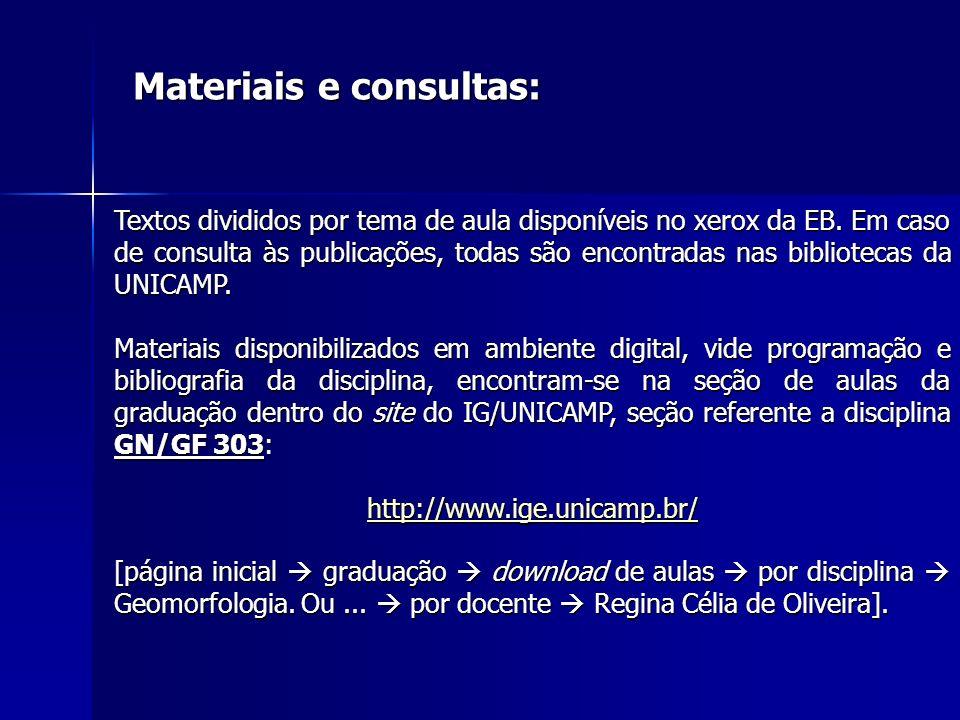 Materiais e consultas: