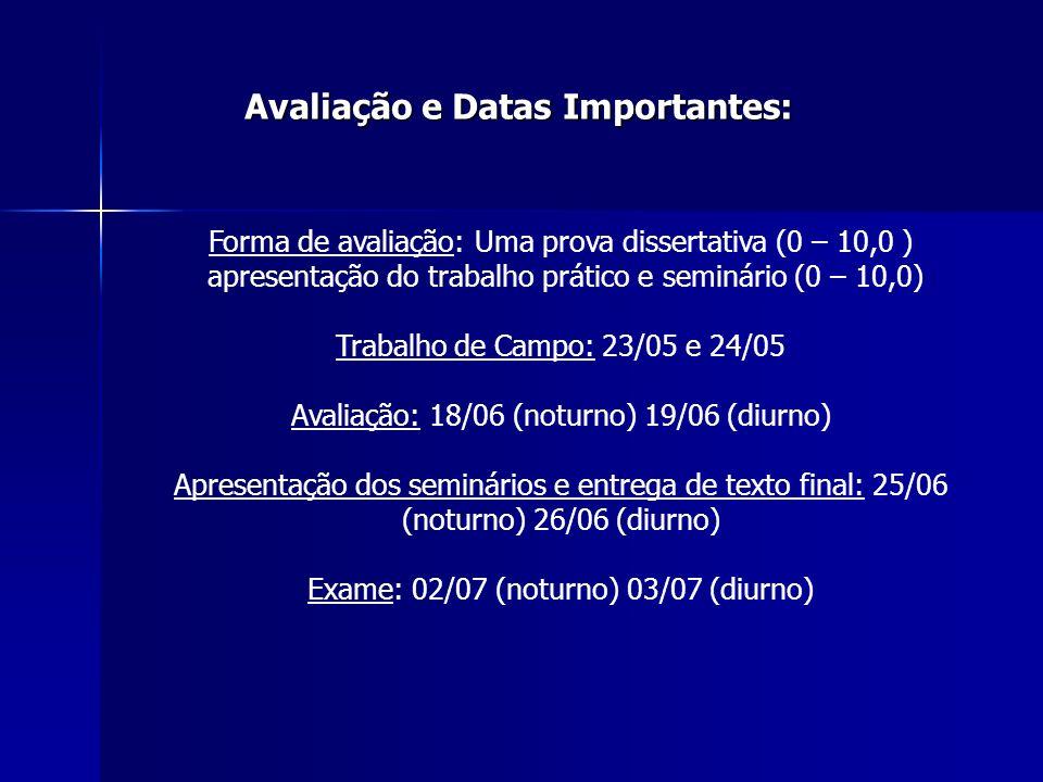 Avaliação e Datas Importantes: