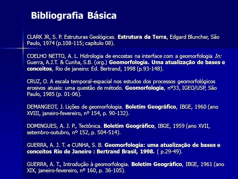 Bibliografia Básica CLARK JR, S. P. Estruturas Geológicas. Estrutura da Terra, Edgard Bluncher, São Paulo, 1974 (p.108-115; capítulo 08).