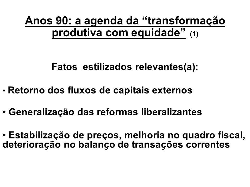 Anos 90: a agenda da transformação produtiva com equidade (1)