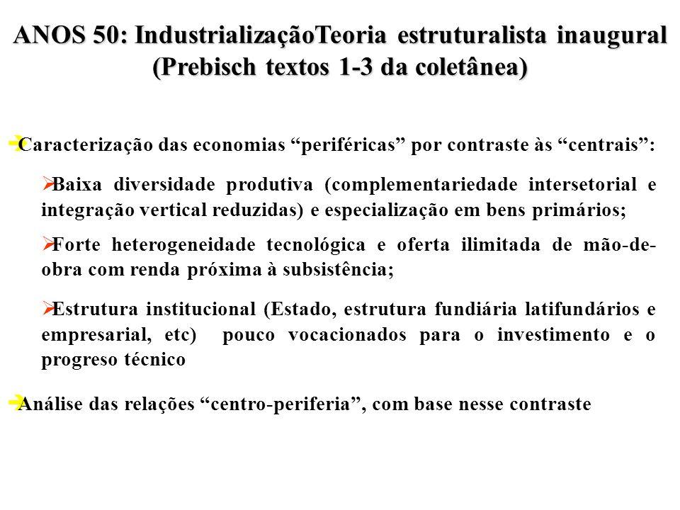 ANOS 50: IndustrializaçãoTeoria estruturalista inaugural (Prebisch textos 1-3 da coletânea)