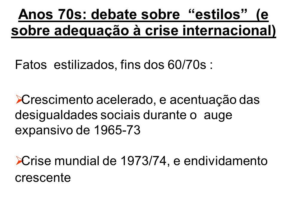 Anos 70s: debate sobre estilos (e sobre adequação à crise internacional)