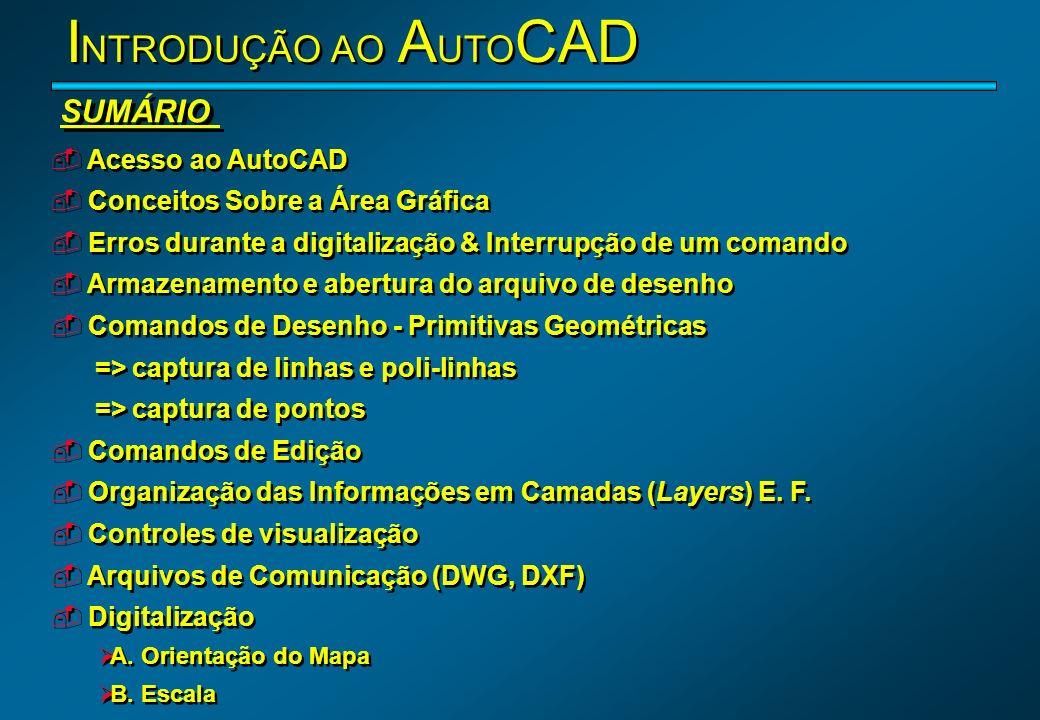 INTRODUÇÃO AO AUTOCAD SUMÁRIO Acesso ao AutoCAD