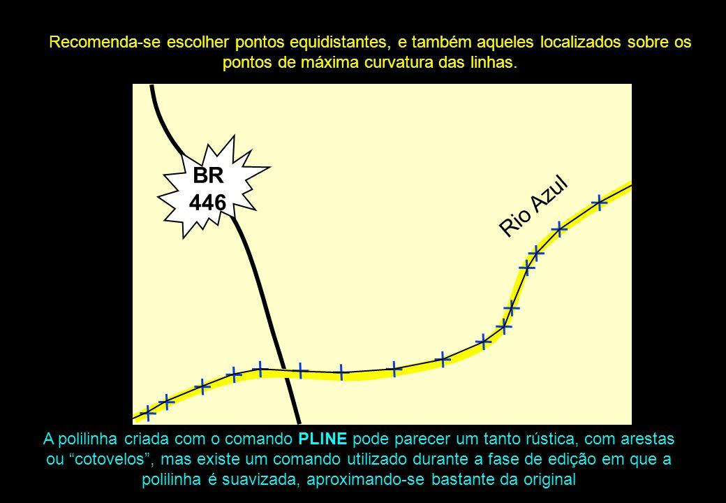 Recomenda-se escolher pontos equidistantes, e também aqueles localizados sobre os pontos de máxima curvatura das linhas.