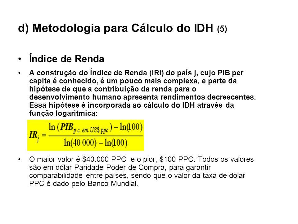 d) Metodologia para Cálculo do IDH (5)