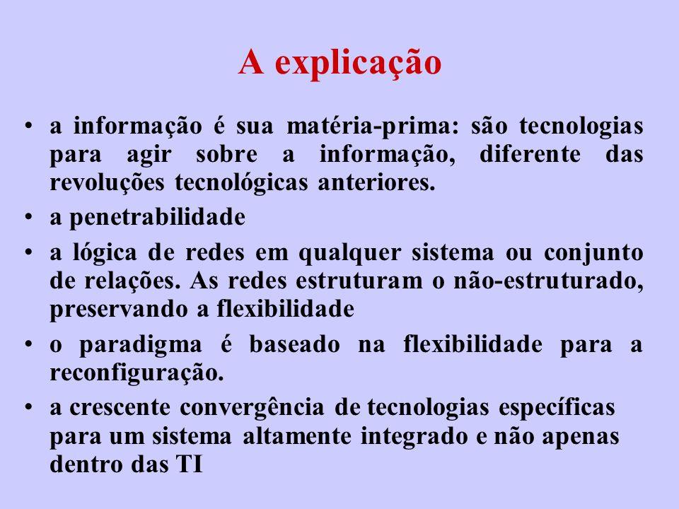 A explicação a informação é sua matéria-prima: são tecnologias para agir sobre a informação, diferente das revoluções tecnológicas anteriores.