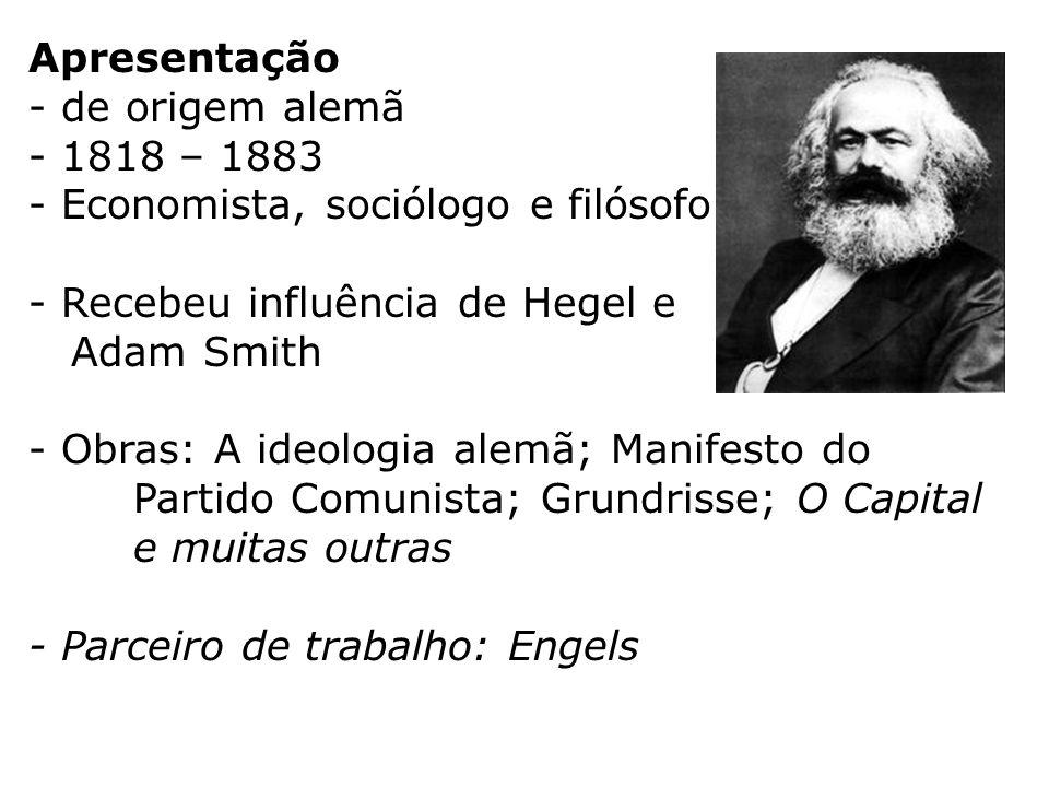 Apresentação de origem alemã. 1818 – 1883. Economista, sociólogo e filósofo. Recebeu influência de Hegel e.
