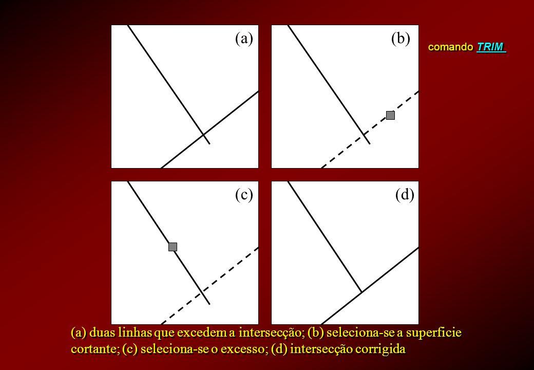 (a) (b) comando TRIM. (c) (d) (a) duas linhas que excedem a intersecção; (b) seleciona-se a superficie.