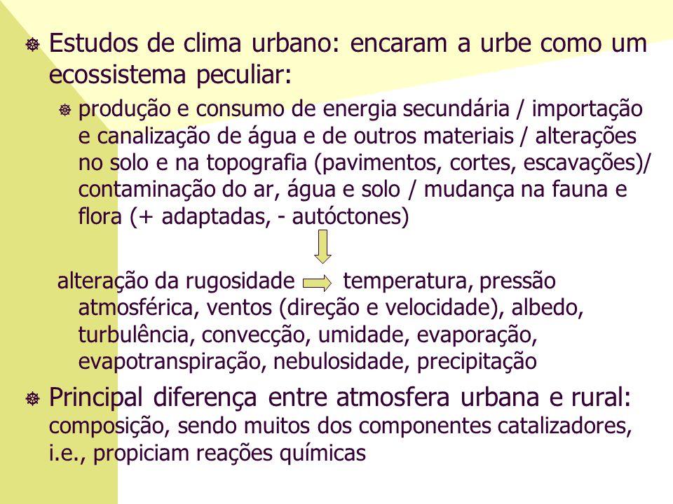 Estudos de clima urbano: encaram a urbe como um ecossistema peculiar: