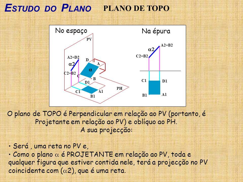 ESTUDO DO PLANO PLANO DE TOPO No espaço Na épura