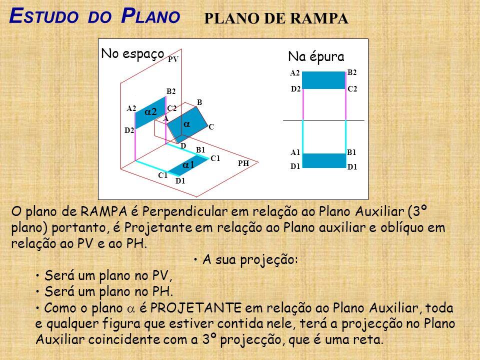 ESTUDO DO PLANO PLANO DE RAMPA No espaço Na épura