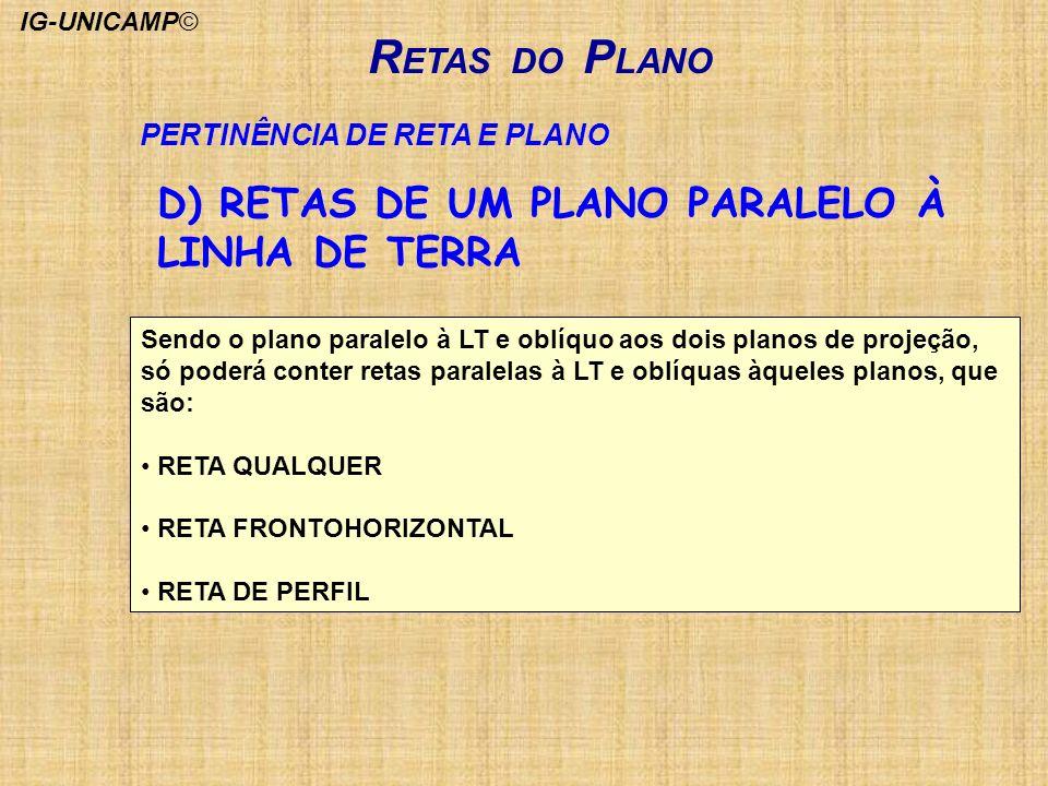 RETAS DO PLANO D) RETAS DE UM PLANO PARALELO À LINHA DE TERRA