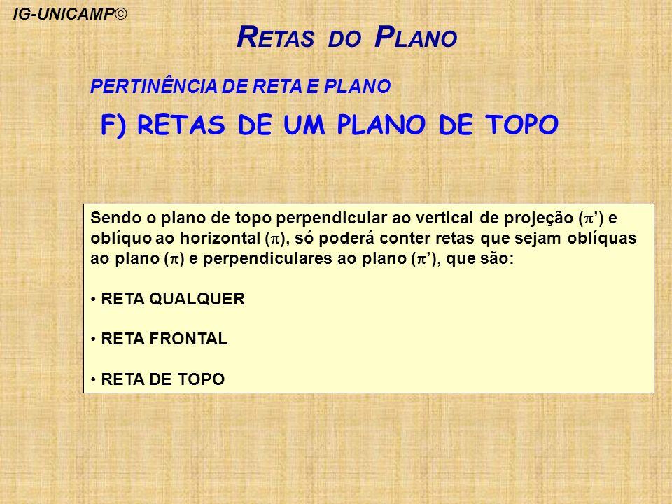 RETAS DO PLANO F) RETAS DE UM PLANO DE TOPO