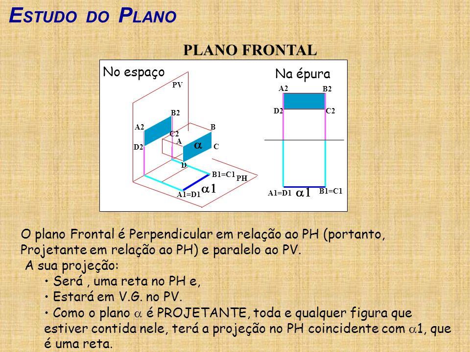 ESTUDO DO PLANO PLANO FRONTAL No espaço Na épura a a1 a1