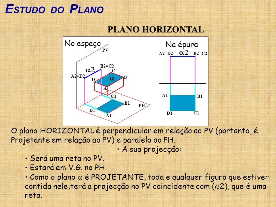 ESTUDO DO PLANO PLANO HORIZONTAL No espaço Na épura a2 a2 a