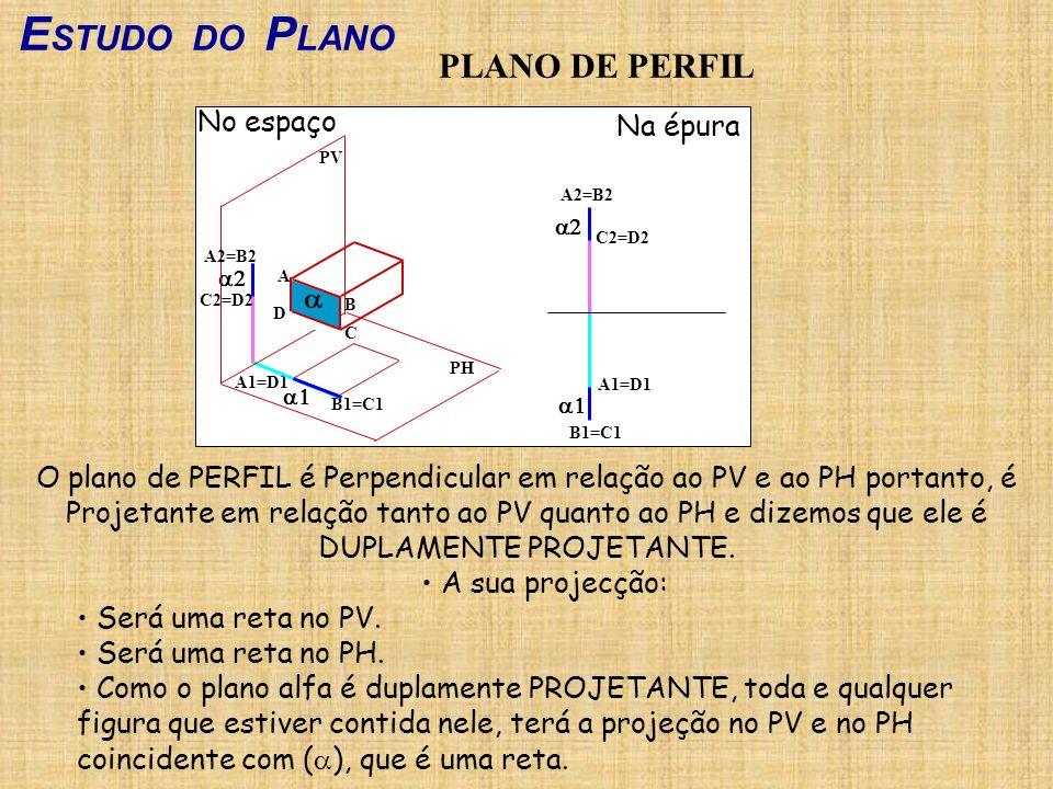 ESTUDO DO PLANO PLANO DE PERFIL No espaço Na épura a