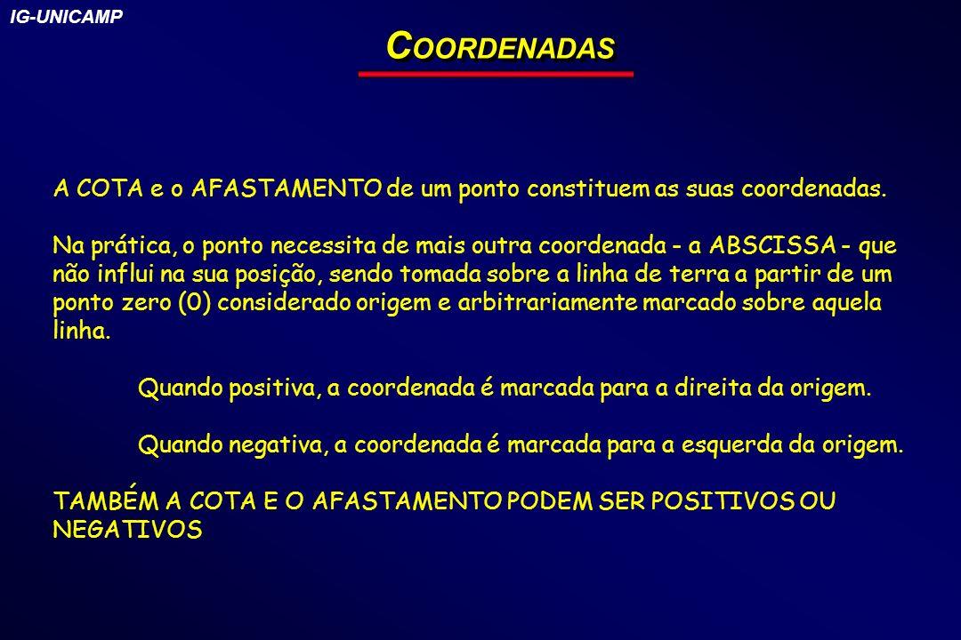IG-UNICAMP COORDENADAS. A COTA e o AFASTAMENTO de um ponto constituem as suas coordenadas.