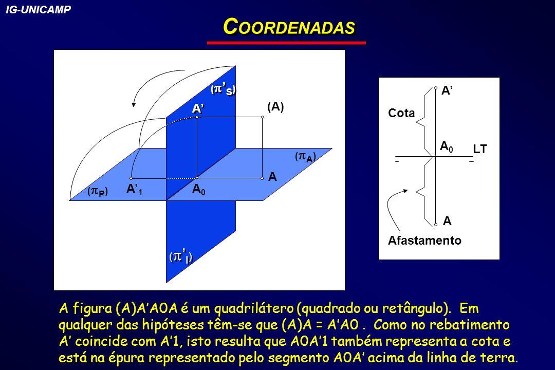 IG-UNICAMP COORDENADAS. (P) ('I) (A) ('S) (A) A. A' A0. A'1. A' Cota. A0. LT. A. Afastamento.