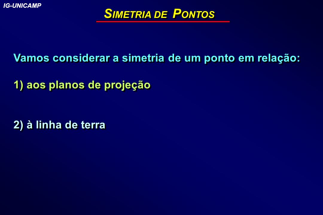 SIMETRIA DE PONTOS Vamos considerar a simetria de um ponto em relação: