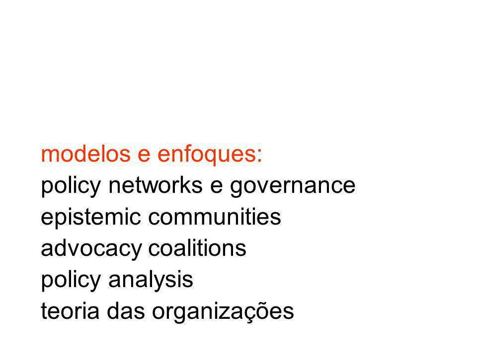modelos e enfoques: policy networks e governance. epistemic communities. advocacy coalitions. policy analysis.