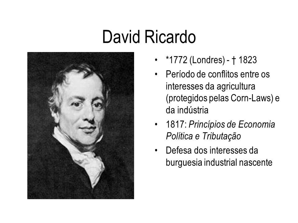 David Ricardo *1772 (Londres) - † 1823