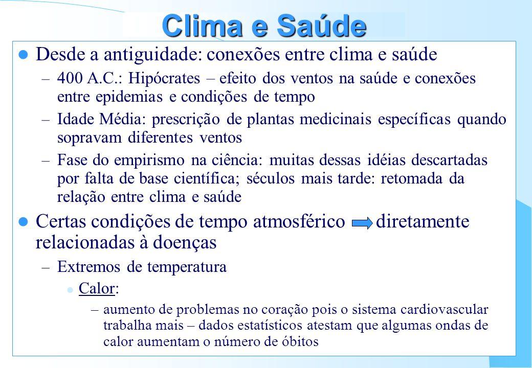 Clima e Saúde Desde a antiguidade: conexões entre clima e saúde