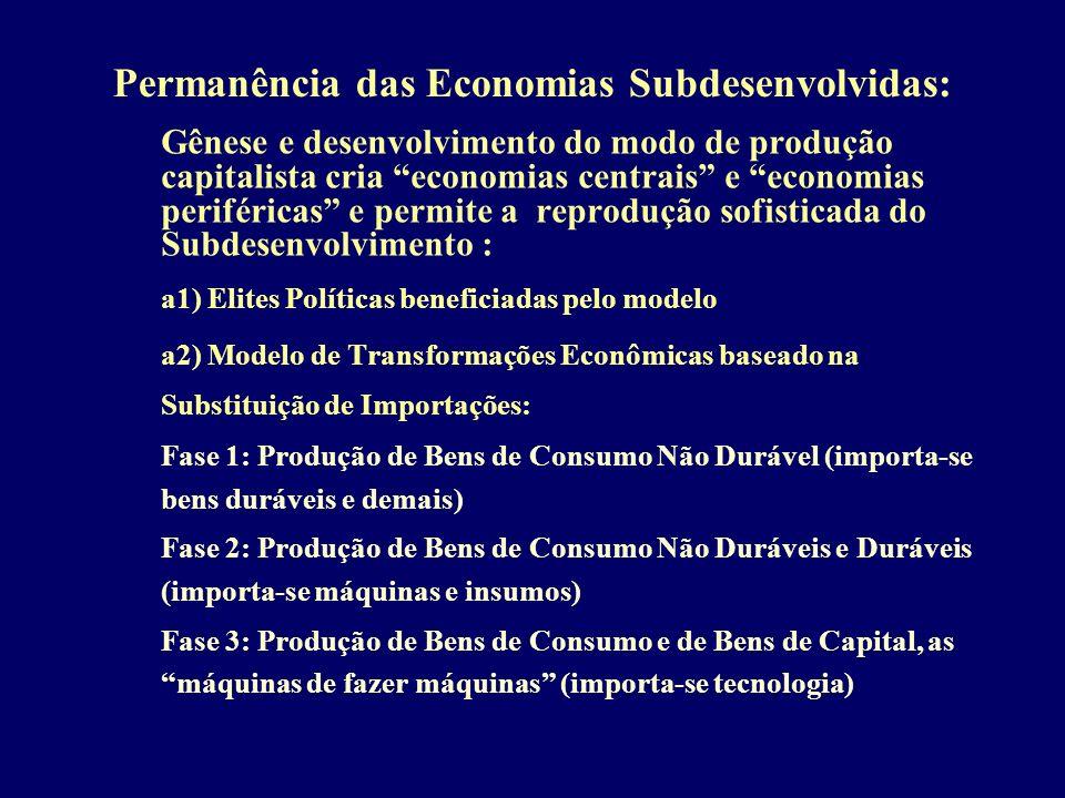 Permanência das Economias Subdesenvolvidas: