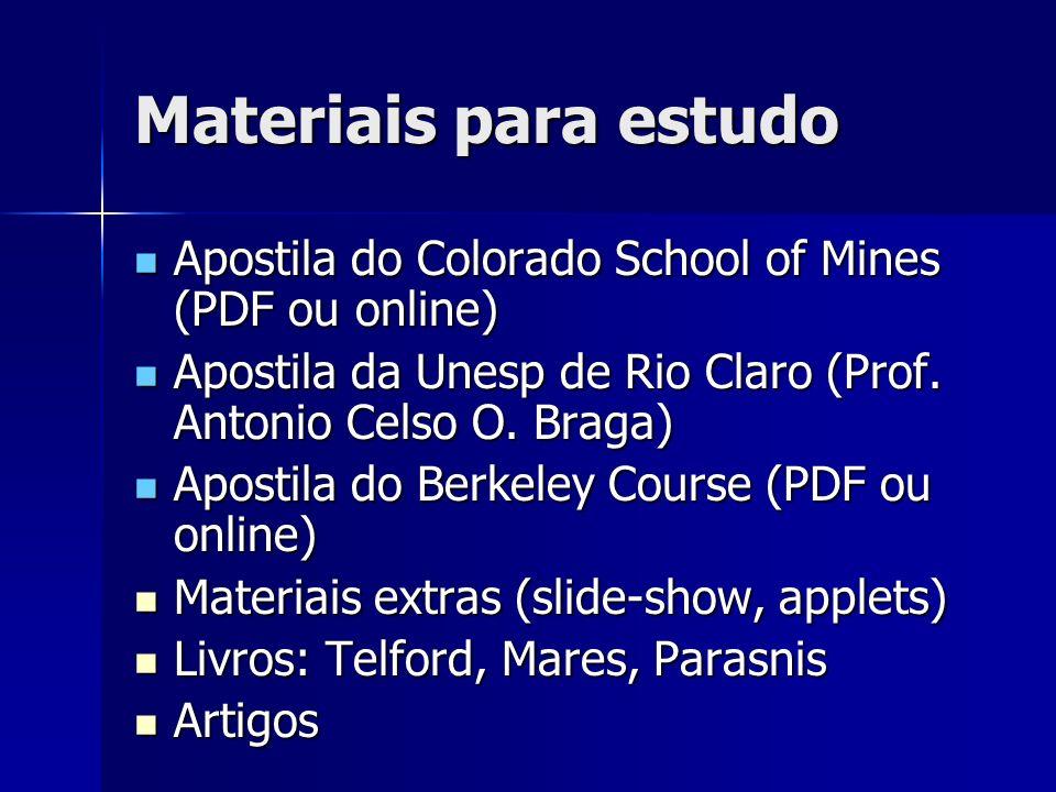 Materiais para estudo Apostila do Colorado School of Mines (PDF ou online) Apostila da Unesp de Rio Claro (Prof. Antonio Celso O. Braga)