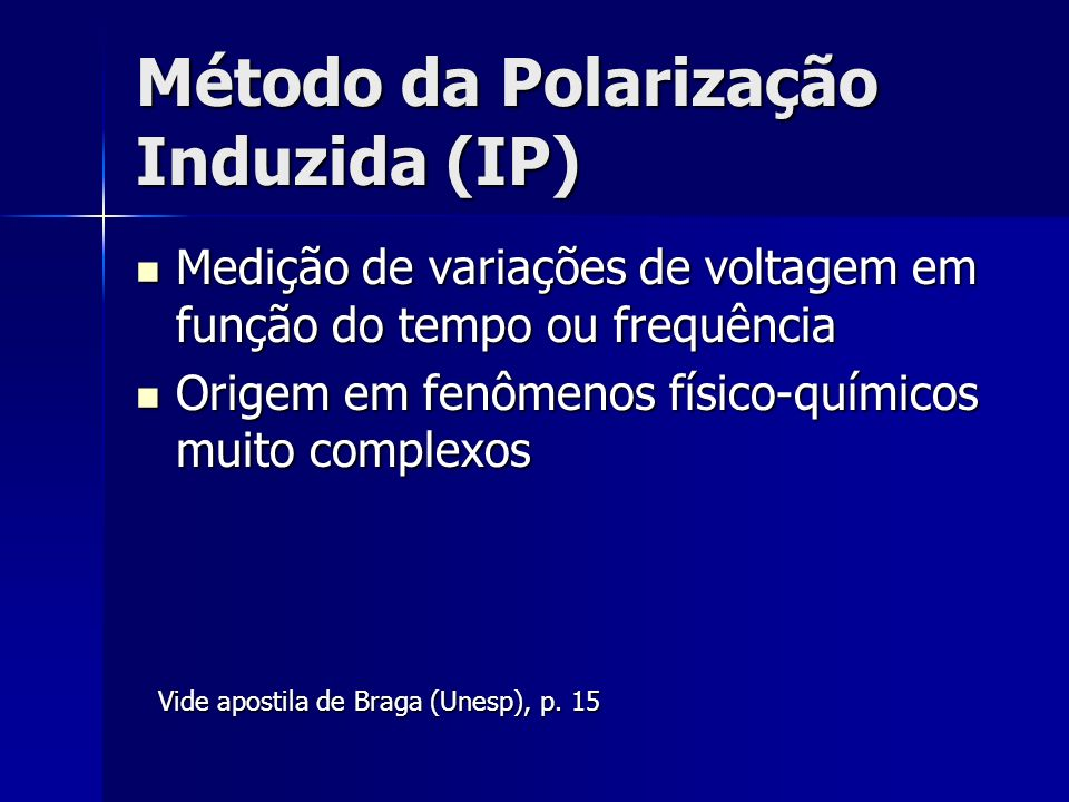 Método da Polarização Induzida (IP)