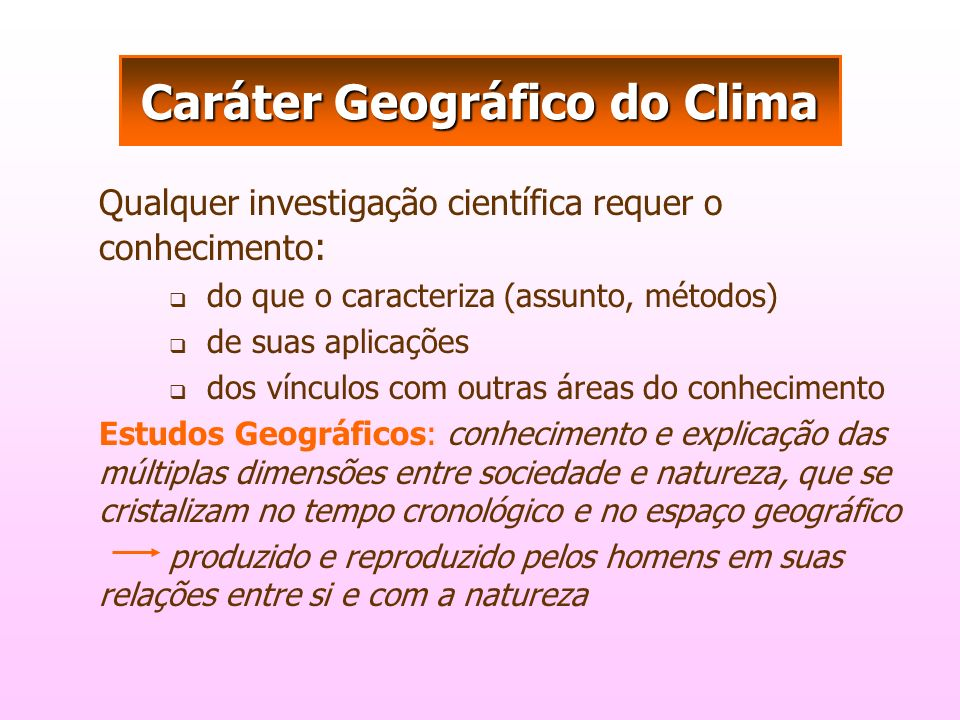 Caráter Geográfico do Clima