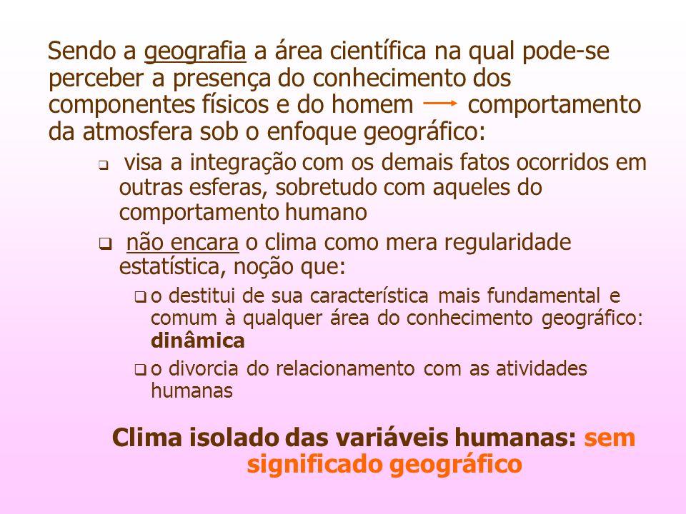 Clima isolado das variáveis humanas: sem significado geográfico