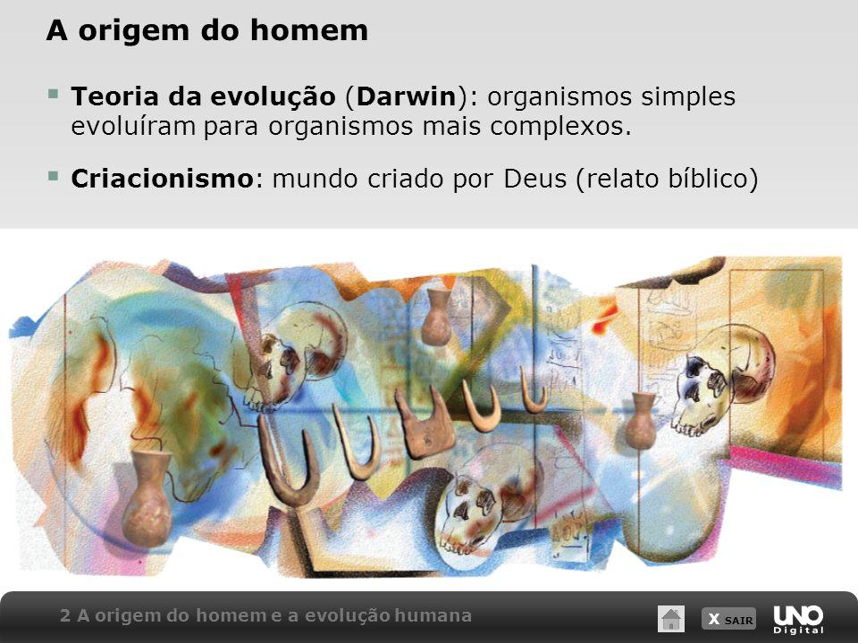 A origem do homemTeoria da evolução (Darwin): organismos simples evoluíram para organismos mais complexos.