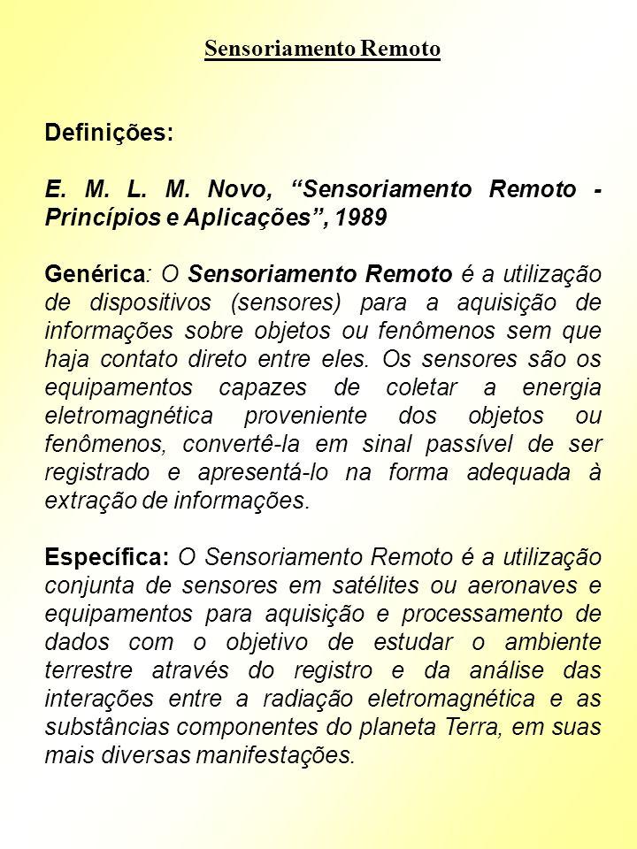 Sensoriamento Remoto Definições: E. M. L. M. Novo, Sensoriamento Remoto - Princípios e Aplicações , 1989.