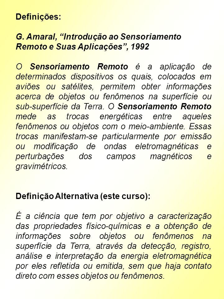 Definições: G. Amaral, Introdução ao Sensoriamento Remoto e Suas Aplicações , 1992.