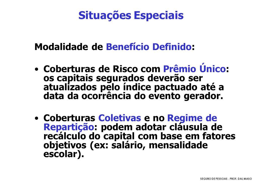 Situações Especiais Modalidade de Benefício Definido: