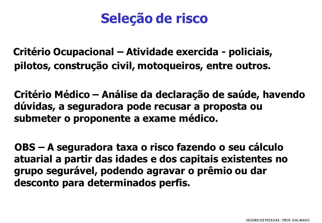 Seleção de risco Critério Ocupacional – Atividade exercida - policiais, pilotos, construção civil, motoqueiros, entre outros.