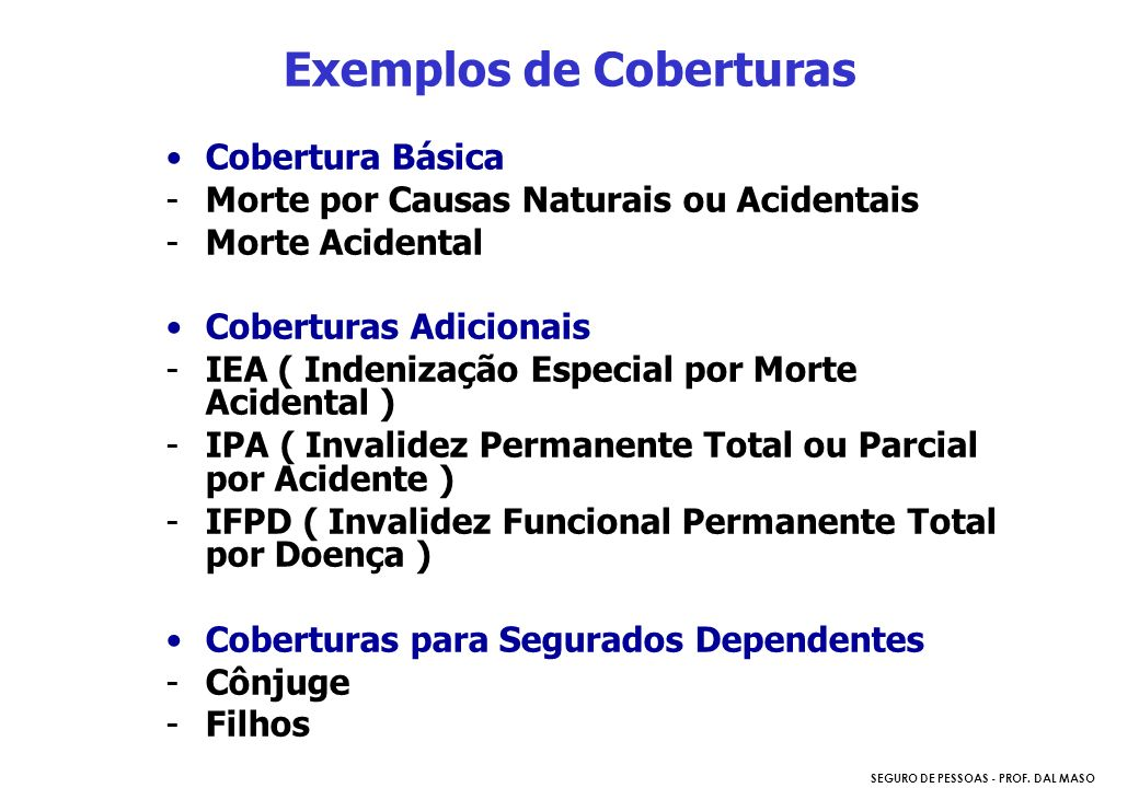 Exemplos de Coberturas