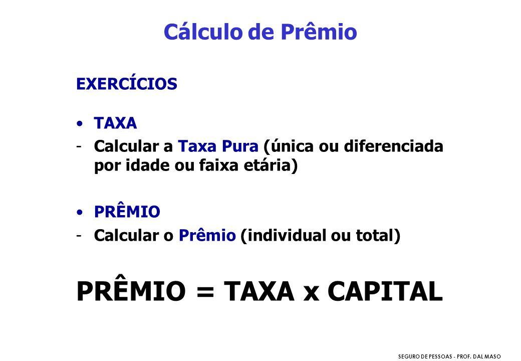 PRÊMIO = TAXA x CAPITAL Cálculo de Prêmio EXERCÍCIOS TAXA