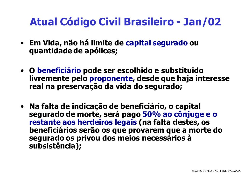 Atual Código Civil Brasileiro - Jan/02
