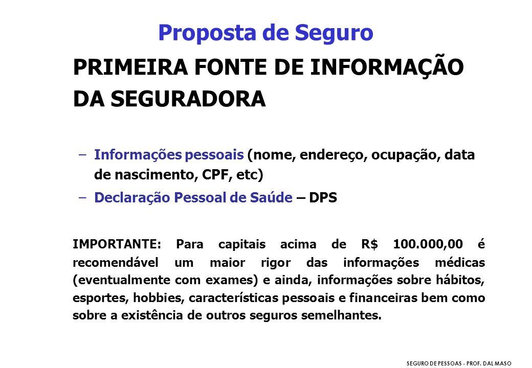 PRIMEIRA FONTE DE INFORMAÇÃO DA SEGURADORA