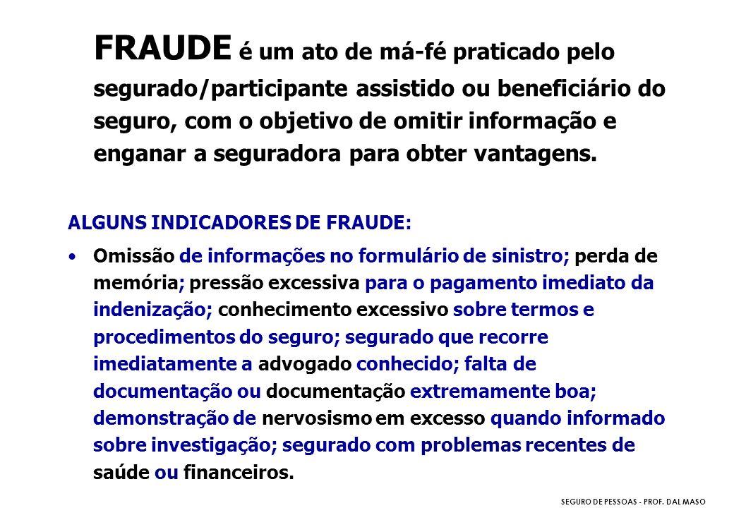 FRAUDE é um ato de má-fé praticado pelo segurado/participante assistido ou beneficiário do seguro, com o objetivo de omitir informação e enganar a seguradora para obter vantagens.