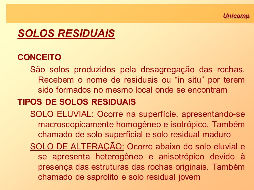 SOLOS RESIDUAIS CONCEITO