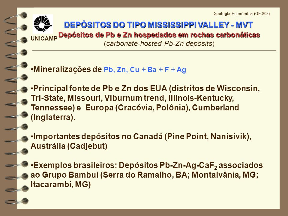 DEPÓSITOS DO TIPO MISSISSIPPI VALLEY - MVT