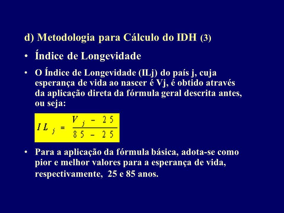 d) Metodologia para Cálculo do IDH (3)